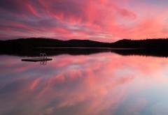 Канада Лесное озеро Розовый закат
