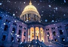 США Мэдисон Висконсин Капитолий Снежинки обои