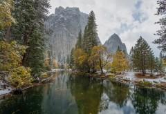 Скалы, река, снег, зима, горы