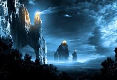 Фэнтези обои темно-ночные горы