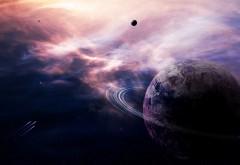 1920x1200, планета, кольцо, туманность, астероиды