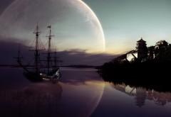 Корабыль на фоне Луны