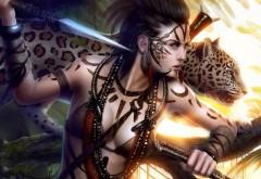 Качественные обои фэнтези девушки и леопарда
