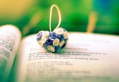 Сердце из цветов на книге