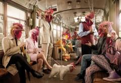 метро, рендеринг, петух, курицы, юмор