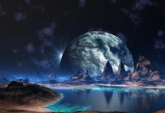 Горы на фоне луны 3Д