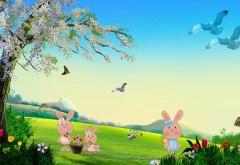 Лето, кролики, пейзаж, рисованые обои, птицы