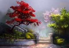 Очаровательный сад с лестницей