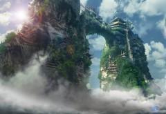 Обои фэнтези города на высоких скалах