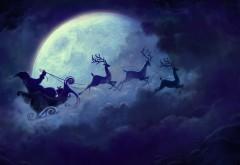 2560x1600, Новый год, дед мороз, санта клаус, олени, луна, сан…
