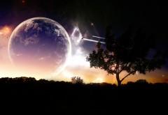 1920x1200, 3D обои луны и космоса на фоне Земли
