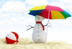 Прикольные обои снеговика в пустыне под зонтиком
