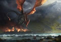 1920x1080, Красный дракон, море и горы