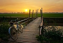 Мостик через канал на фоне заката и велосипеда картинк…