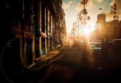 1920x1200, Восход солнца в городе обои