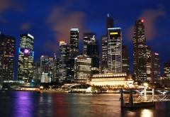 Ночной Сингапур обои широкоформатные на компьютор