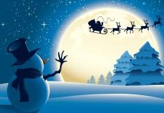 Снеговик, олени, снег, праздник, санта, заставки
