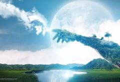 3D природа, рука из облаков и из камня