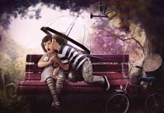 Рисованные дети целуются картинки