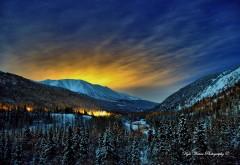 Аляска ночь снег заставки на рабочий стол