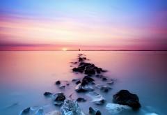 Постель из камней на закате морские обои на рабочий ст�…