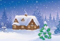 Снежный домик рисованные картинки рождественские открытки