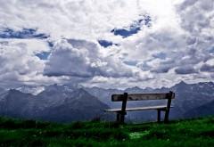 Облако, природа, горы, пейзаж, лавочка, картинки