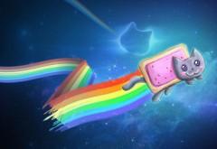 Фэнтези радуга, абстрактные, кот, фэнтези, фоны, флешка