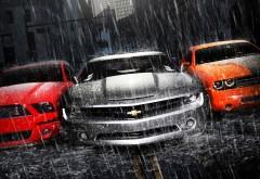 mustang-camaro-dodge три мощных автомобиля картинки