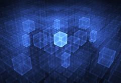 Голубой куб абстрактные обои hd на рабочий стол скачать