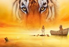 Тигр в желтом небе, озеро, лодка, фоны, картинки, фэнтези
