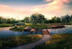 Японский сад, озеро, парк, деревья, природа, небо, обои, �…