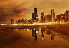 Ночной Чикаго на побережье картинки на рабочий стол
