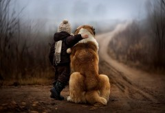 Огромная собака в обнимку с ребенком картинки на рабоч…