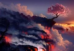 Фэнтези лава, природный ландшафт, картинки