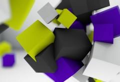 Разноцветные кубы абстрактные обои на рабочий стол