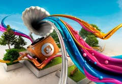 Креативный граммофон с цветной радугой картинки скачать