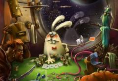 Кролик, робот, пират, осьминог, покер, карты, картинки, с…