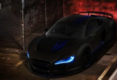 Черный Audi R8 синие огни удивительный автомобиль обои hd
