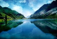 Прекрасный пейзаж горного озера обои hd