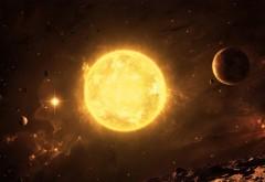 Раскаленное солнце желтое