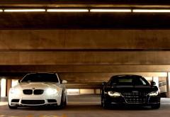 BMW M3 E92 Audi R8 парковка обои hd