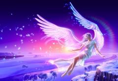 Ангел блондинка на крыльях летает зимой по снегу аниме