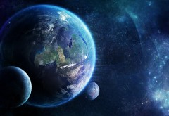 Голубая планета обои со звёздами