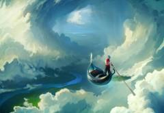 Сказочные обои парень в гандоле плывет по небу hd