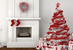 Рождественская елка у камина на рабочий стол