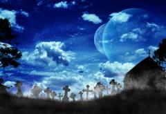 Вид луны на фоне кладбища
