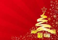 Новогодняя елка на красном фоне заставки на рабочий ст…