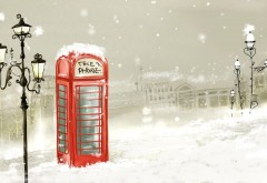 Telephone winter snowflakes snow lights city paint art wallpapers