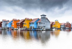 Colorful houses water reflection wallpaper high resolution hd